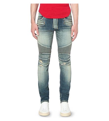 BALMAIN Biker distressed slim-fit skinny jeans (Blue