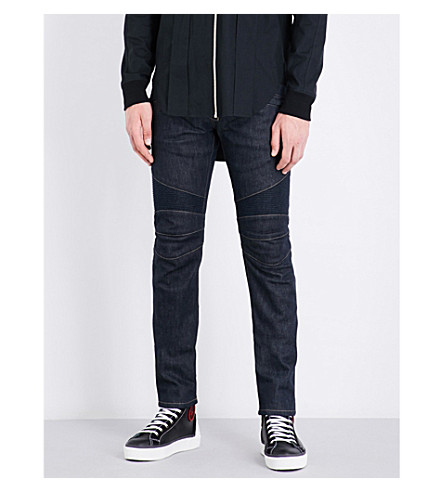 BALMAIN Slim-fit stretch-denim biker jeans (Blue