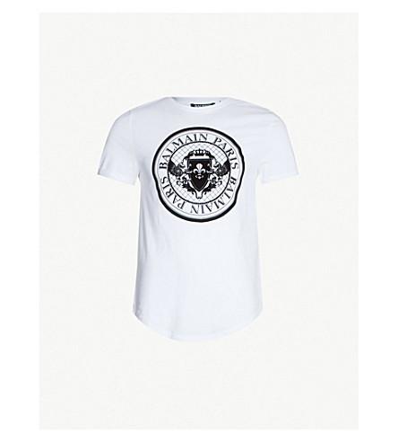 BALMAIN Logo-print cotton-jersey T-shirt (Blanc noir