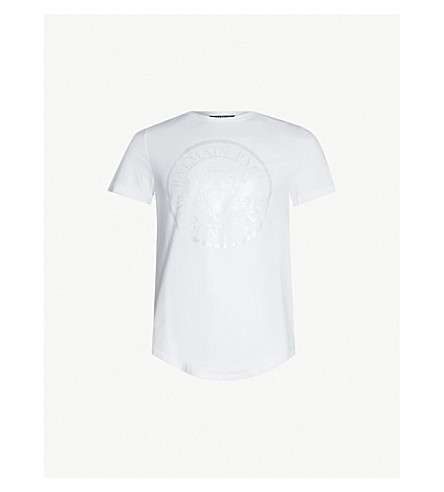 BALMAIN Logo-print cotton-jersey T-shirt (Blanc