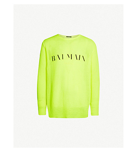 BALMAIN Logo-embroidered knitted sweater (Jaune+fluo