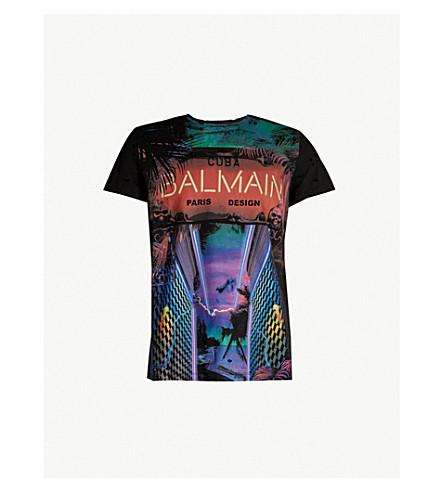 BALMAIN Cuba logo-print cotton-jersey T-shirt (Multicolore
