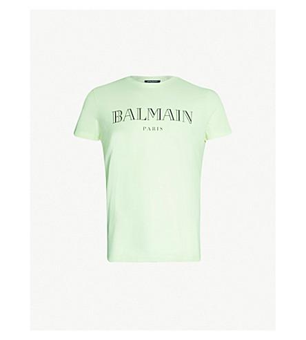 BALMAIN Logo-print cotton-jersey T-shirt (Jaune fluo