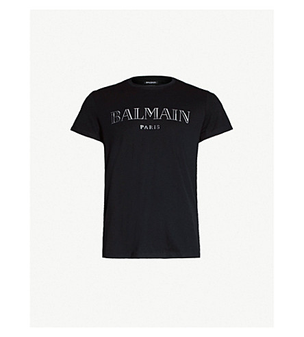 BALMAIN Logo-print cotton-jersey T-shirt (Noir