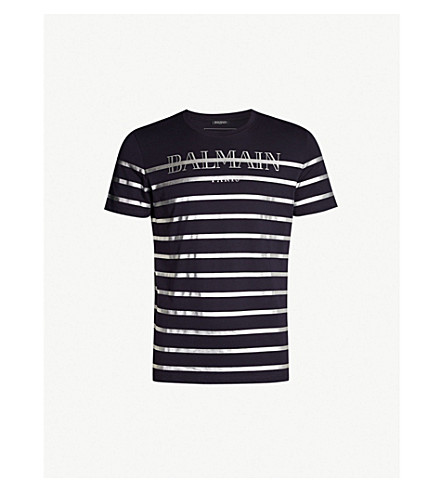 BALMAIN Metallic-striped cotton-jersey T-shirt (Marine