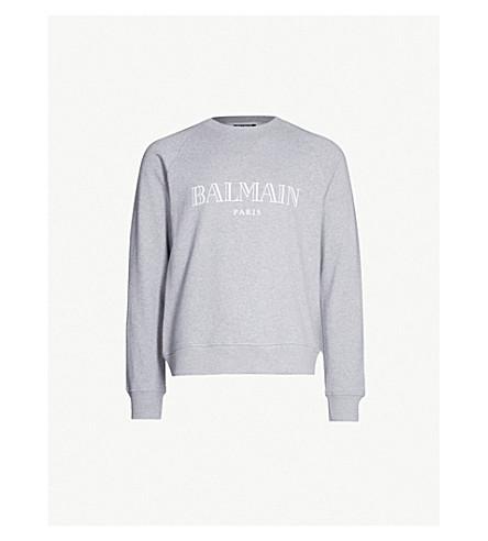 BALMAIN Logo-print cotton-jersey sweatshirt (Gris