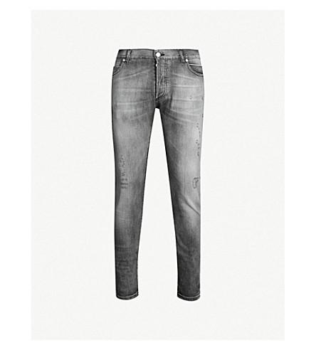 BALMAIN Faded slim-fit skinny jeans (Noir