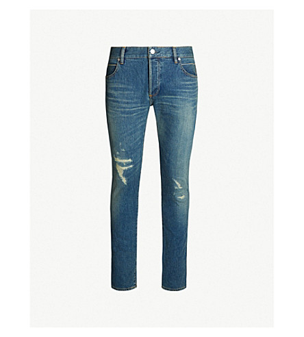 BALMAIN Ripped slim-fit skinny jeans (Bleu clair