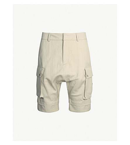 BALMAIN Dropped-crotch cotton and linen-blend shorts (Beige