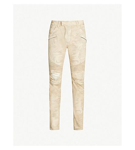 BALMAIN Camouflage-print ripped slim-fit tapered biker jeans (Beige
