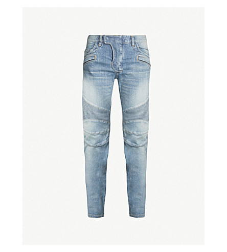 BALMAIN Ribbed-panel slim-fit mid-rise jeans (Bleu clair