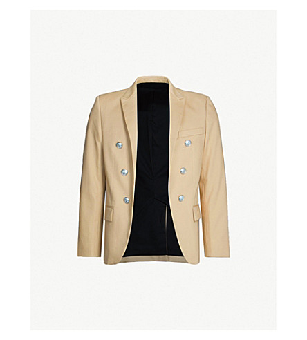 BALMAIN Button-embellished cotton blazer (Beige