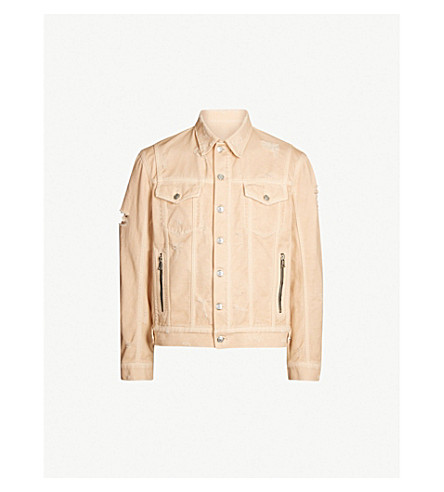 BALMAIN Ripped denim jacket (Orange