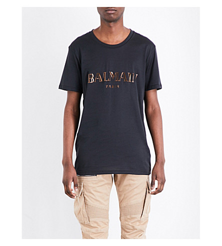 BALMAIN Metallic logo-print cotton-jersey T-shirt (Black