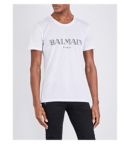 BALMAIN Logo-print cotton-jersey T-shirt (White