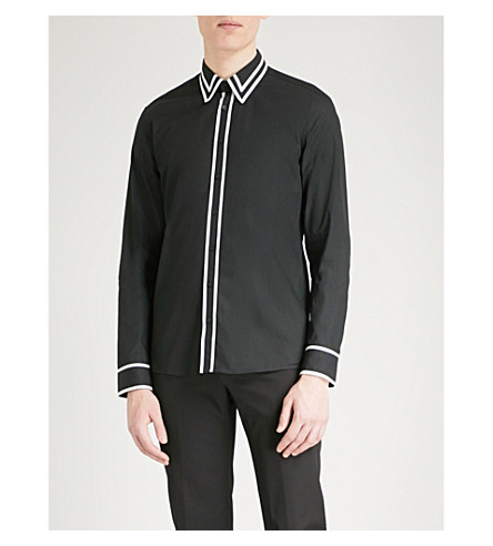 BALMAIN Contrast-trim regular-fit cotton shirt (Noir