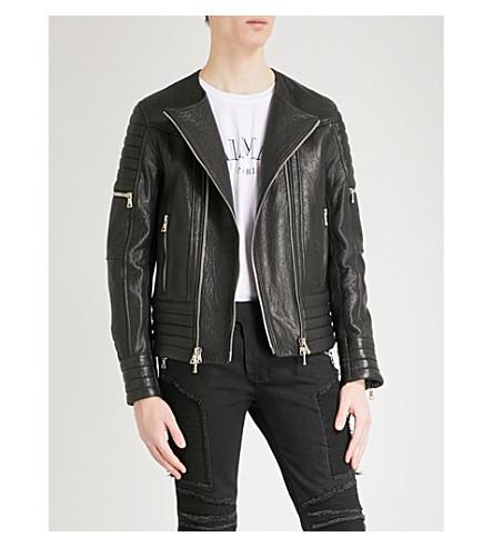 BALMAIN Laced leather biker jacket (Noir