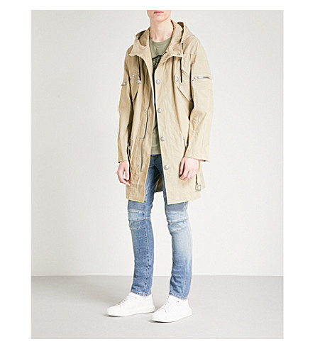 BALMAIN Belted cotton-blend parka coat (Beige