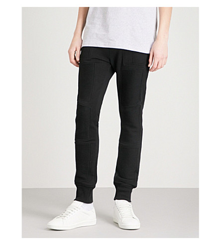 BALMAIN Biker cotton-jersey jogging bottoms (Noir