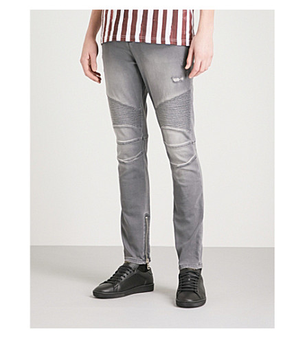 BALMAIN Biker relaxed-fit tapered jeans (Noir