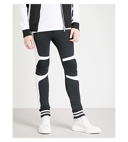 BALMAIN Contrast-panel tapered cotton-jersey jogging bottoms (Noir+blanc