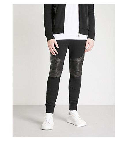BALMAIN Biker-detail cotton-jersey and leather jogging bottoms (Noir