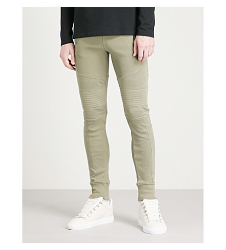BALMAIN Slim-fit cotton-jersey jogging bottoms (Kaki