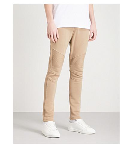 BALMAIN Biker cotton-jersey jogging bottoms (Beige