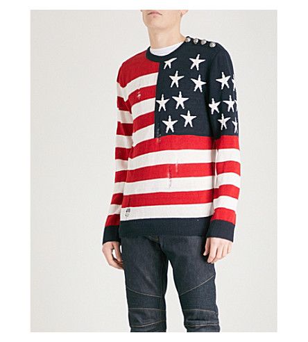 BALMAIN American flag knitted cotton jumper (Multicolore