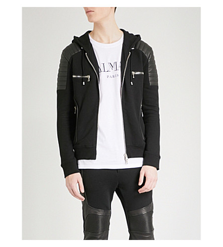BALMAIN Leather-detail cotton-jersey hoody (Noir