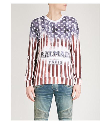 BALMAIN American Flag cotton-jersey sweatshirt (Multicolore