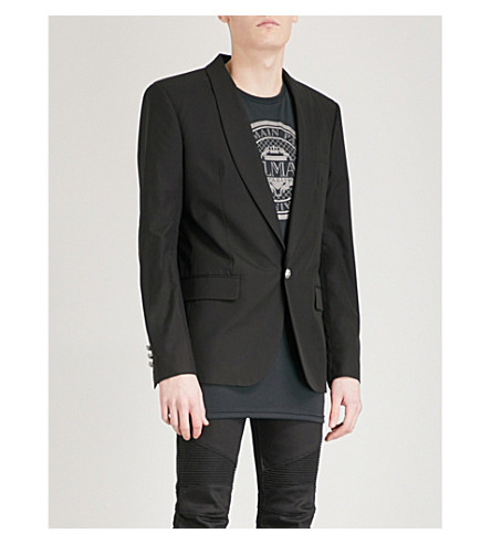 BALMAIN One-button slim-fit cotton blazer (Noir