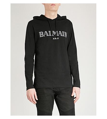 BALMAIN Logo-print cotton-jersey hoody (Noir