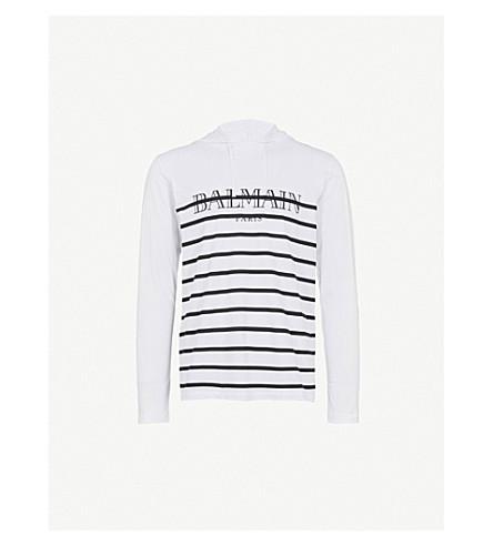 BALMAIN Breton-stripe cotton-jersey hoody (Noir+blanc