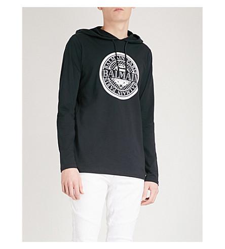 BALMAIN Logo-print cotton-jersey hoody (Marine
