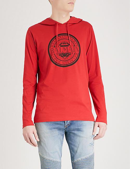 BALMAIN Logo-print cotton-jersey hoody