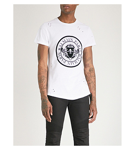 BALMAIN Logo-print distressed cotton-jersey T-shirt (Blanc