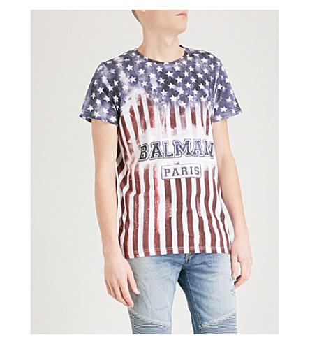 BALMAIN 美国国旗印平纹针织棉 T 恤 (Multicolore