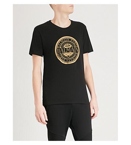 BALMAIN Monnaie logo-print cotton-jersey T-shirt (Noir