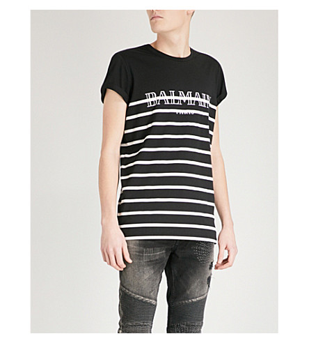 BALMAIN Marine logo cotton-jersey T-shirt (Noir+blanc