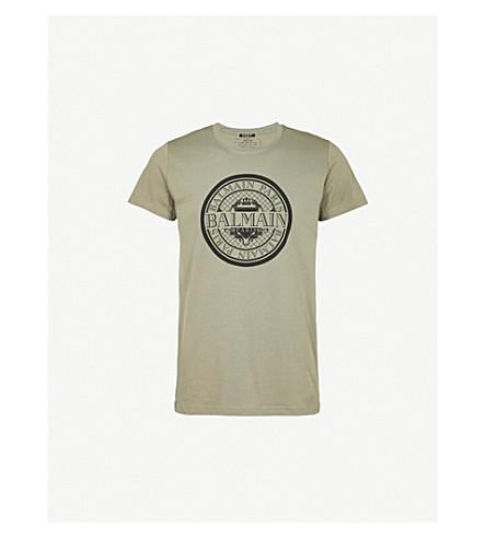 BALMAIN 莫奈标志打印平纹针织棉 T 恤 (柿
