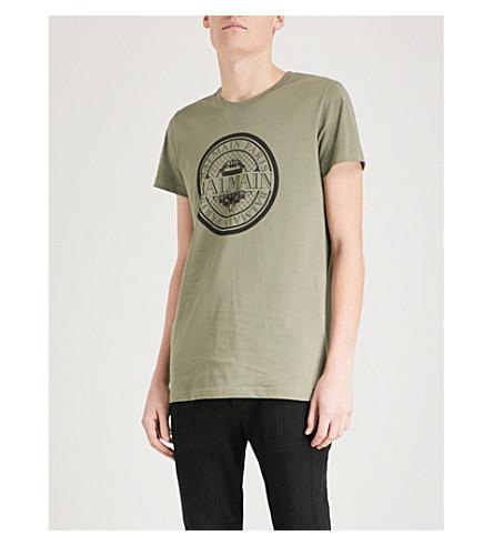 BALMAIN Monnaie logo-print cotton-jersey T-shirt (Kaki