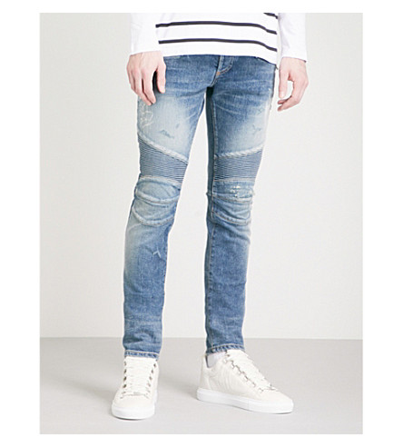 BALMAIN Biker distressed slim-fit skinny jeans (Bleu