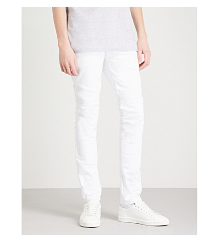 BALMAIN Biker-detail regular-fit tapered jeans (Blanc