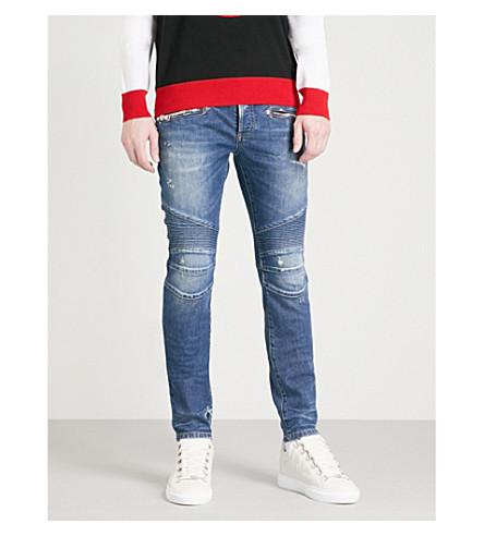 BALMAIN Biker distressed slim-fit skinny jeans (Bleu