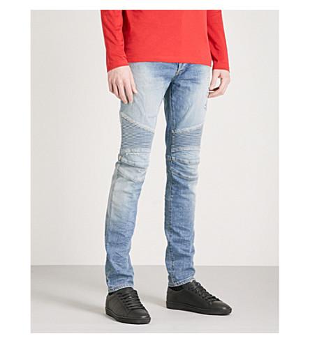 BALMAIN 车手-详细的规则适合的锥形牛仔裤 (蓝蓝色