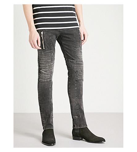 BALMAIN Biker-detail slim-fit skinny jeans (Noir