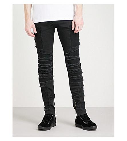 BALMAIN Distressed slim-fit skinny jeans (Noir