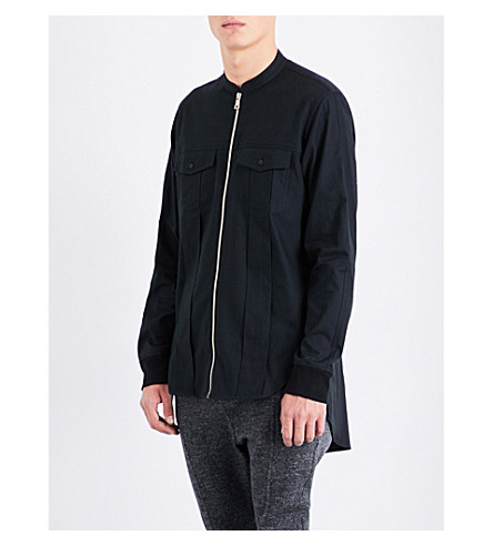BALMAIN Zipped cotton shirt jacket (Black