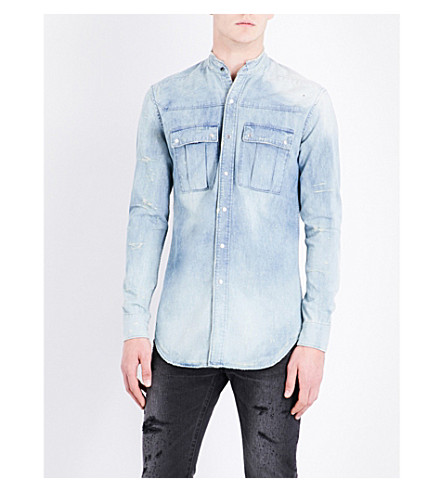 BALMAIN Bleached regular-fit denim shirt (Blue